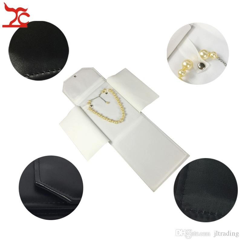 Big Sell Foldable Necklace Holder Leatherette Pendant Chain Storage Case Pear Jewelry Organizer Gift Travel Roll Bag