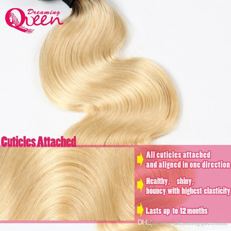 #1B 613 Blonde Body Wave Ombre Brazilian Human Hair Weave Brazilian Ombre Virgin Human Hair Extension 3 Bundles Blonde Hair Bundles
