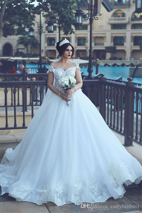 Ny skräddarsydd elegant off-the-shoulder boll klänning bröllopsklänningar 2017 lyxkristaller pärlstav tulle boll applikationer bröllop brudklänningar