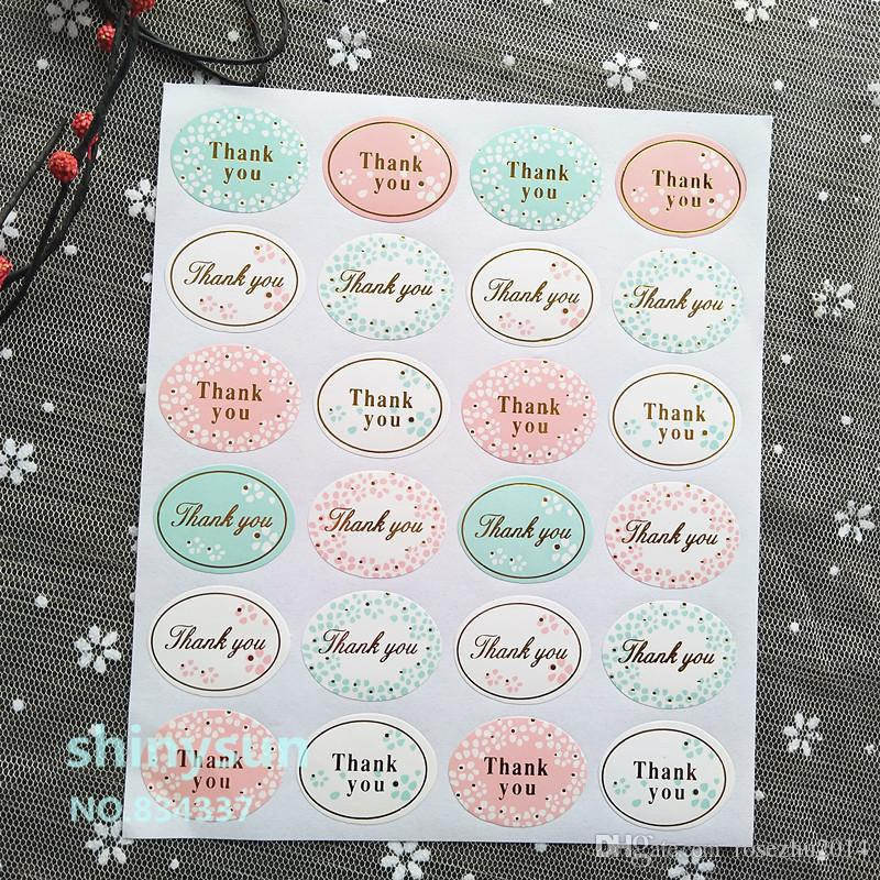 """Cute Round Golden """"Thank you"""" series color seal sticker for baking DIY Package label Decoration label sticker retail"""