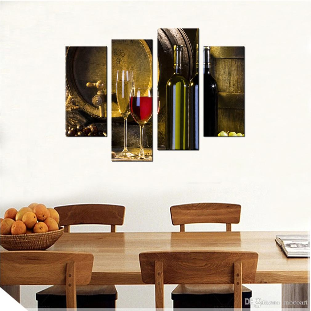 2019 Canvas Prints Red Wine Barrel And Glass Wall Art Kitchen Decor Barrel  Bottle Picture Canvas Painting Modern Home Decor Framed From Mocoart, ...