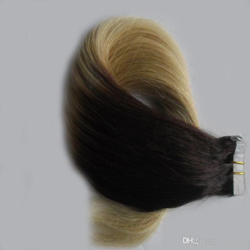 #1B/613 two tone ombre brazilian hair skin weft tape hair extensions Straight Brazilian blonde tape human hair 100g