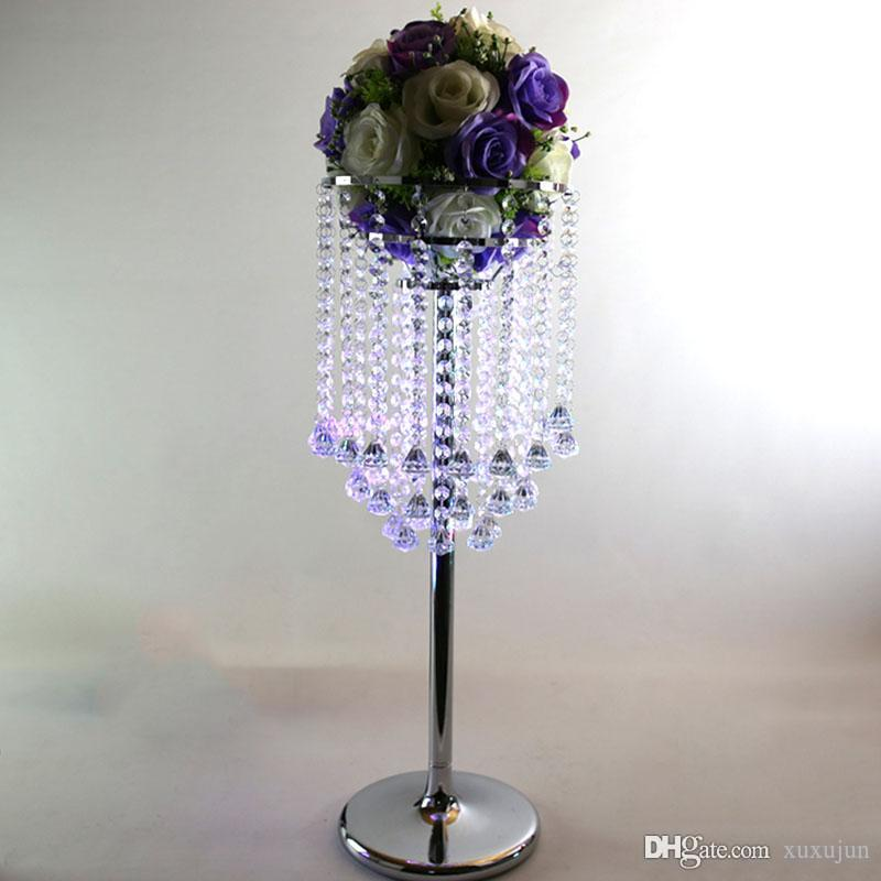 10pcs Lot Silver Metal Acrylic Wedding Road Lead Flower Stand Crystal Wedding Centerpiece Table Centerpiece H 85cm