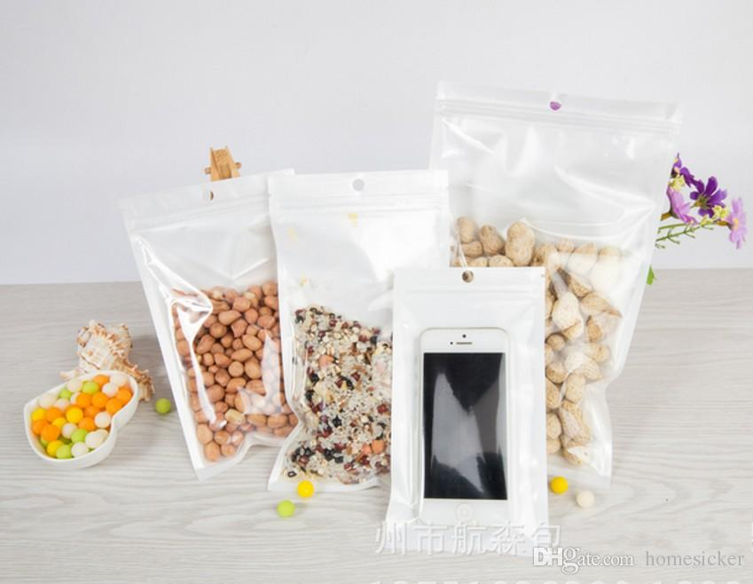 Clear White Pearl Plastic Poly Bags OPP Zipper Lock Retail Packaging Jewelry food PVC plastic bag for Samsung cell phone case