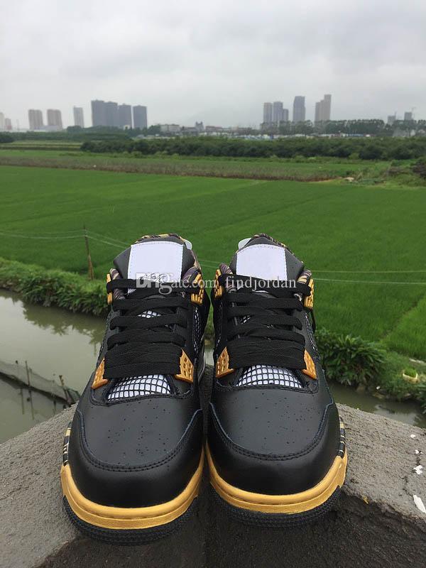 2018 Novo 4 IV Medalha de Ouro homens tênis de basquete de alta qualidade 4S Raspe preto placa de ouro sapatos Sapato Esporte Dos Homens tênis de corrida
