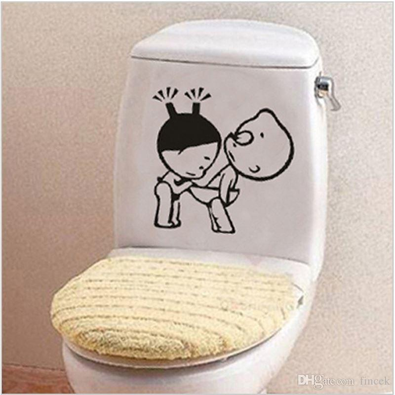 Funny Bathroom Decor Home Decoration Creative Toilet Stickers For Wc Kids  Room Vinyl 3d Wall Sticker On The Toilet Wall Decals Wall Decor Stickers  Quotes ...