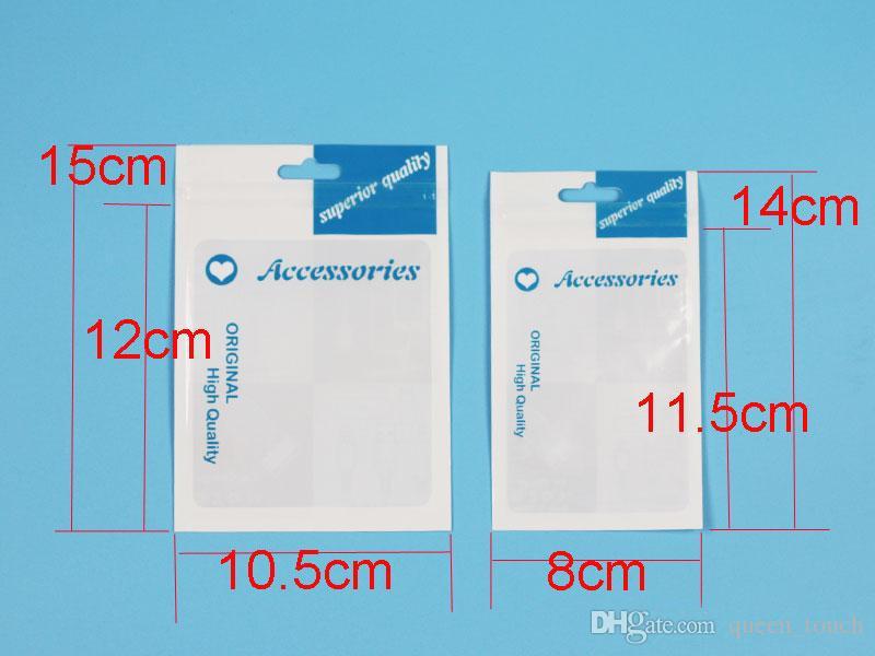 Accesorios de plástico Empaquetado al por menor Bolsos Casos Agujero de la mano Empaquetado Cremallera Cerradura Poliéster OPP Cajas de empaque de PVC 10.5 * 15 cm para teléfono celular