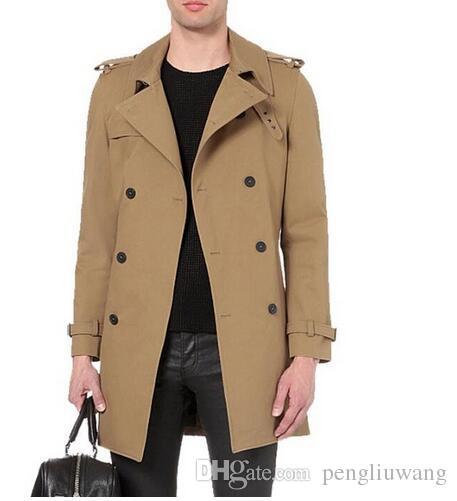 06e6ee5fe1626 Fashion Slim Sexy Medium-long Trench Coat Men Overcoat Long Sleeve Mens  Clothing Double Breasted Outerwear Casaco Spring Khaki Casaco Masculino Mens  ...