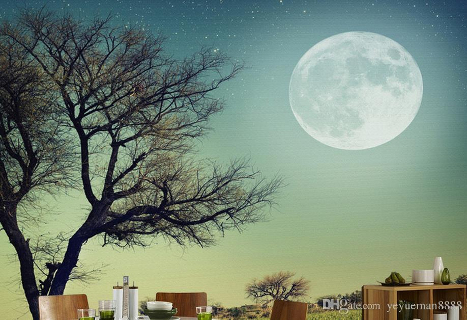 modern wallpaper for the bedroom Customized 3d wallpapers for living room Big Moon Moon 3d wallpaper walls
