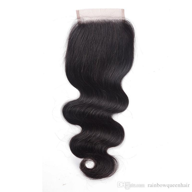 8A brasilianisches Haar spinnt und schließt peruanische malaysische indische Körperwelle mit 3 Paketen 3 Stück Haar mit 1 Spitze Schließung menschliches Haar Extenstions