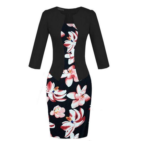 NEW Spring Dress Office Elegant Patchwork Plus Size Fashion European Female Pencil Dresses Bodycon Ladies Work Wear Women Clothing