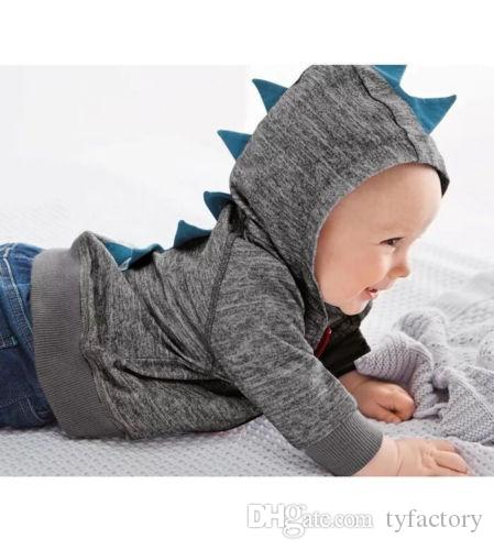 2017 New Toddler Baby Boys Dinosaur Long Sleeve Hooded Tops Jacket Coat Sweatshirt Kid Clothing 0-3T