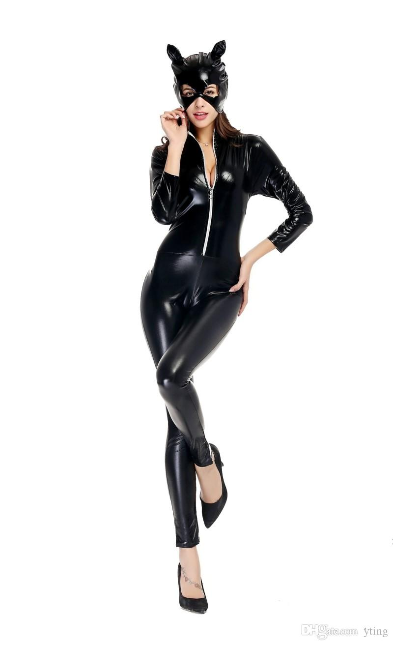 Halloween Sexy Costumes For Adults Catwomen Cosplay Fancy Halloween Jumpsuit Bodycon Patent Leather Costume Outfits with mask