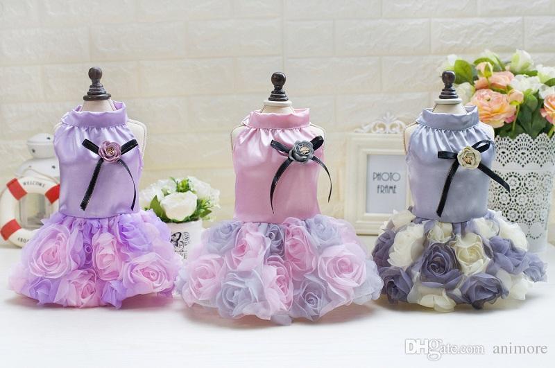 كلب روز فستان زفاف الأميرة جرو جميل الملابس القماش لكلب شيواوا الصغيرة يوركشاير لربيع وصيف