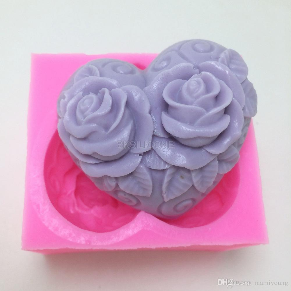 Silicone mold rose flower heart shape fondant cake chocolate mold silicone mold rose flower heart shape fondant cake chocolate mold diy resin soap clay craft mold handmade decoration tools bn011 rose flower heart soap mold izmirmasajfo