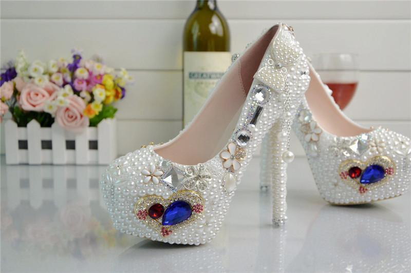 Scarpe da sposa bianche scarpe da sposa con cinturini alla caviglia Punta tonda cristallo scarpe da sposa piattaforma formali scarpe da sera scarpe da ballo di promenade