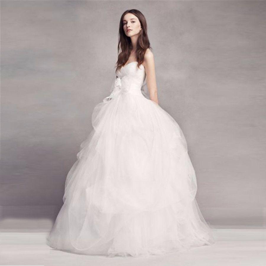 VW351339 New Coming vestidos de casamento sem alças Custom Made vestido de baile mão-saia drapeado apliques arco vestido de casamento de tule vestidos de noiva