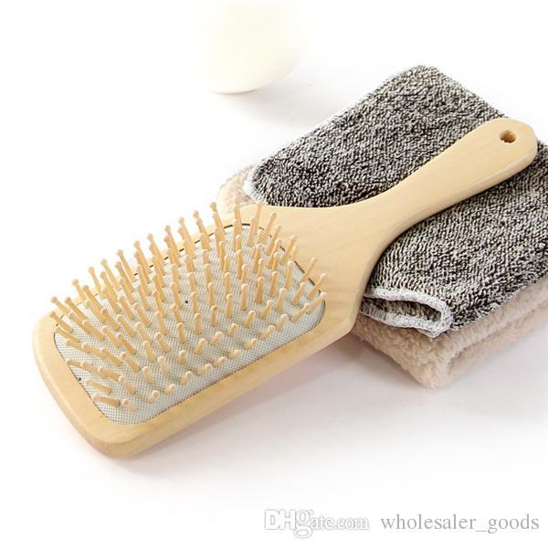 Spazzola capelli in legno Paletta di legno Detangling Massage Straightening Hair Brush Pettine in legno Vent Paddle Brush Keratin Care Spa Massage