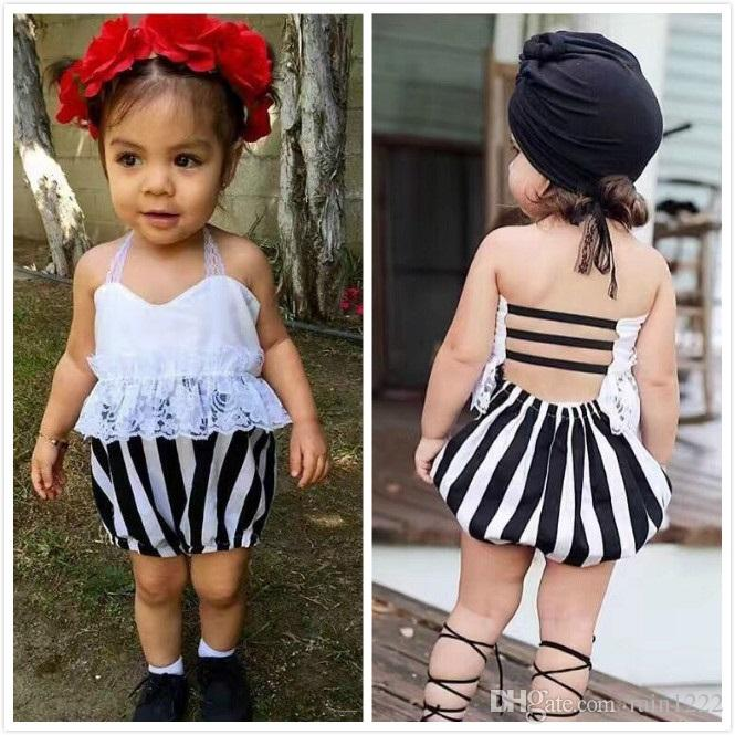 71527df43285 2019 Baby Girls Rompers Jumpsuits Overalls For Children Kids Princess  Summer Backless Suspender Lace Onesies Rompers Striped Jumpsuits Knickers  From ...