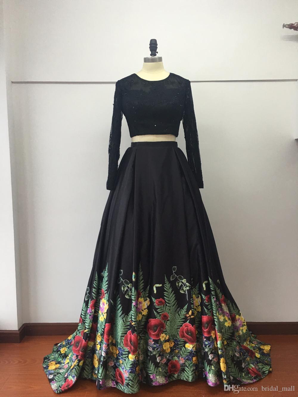 Großhandel Trendy Two Pieces Black Lace Printed Prom Kleider Long ...