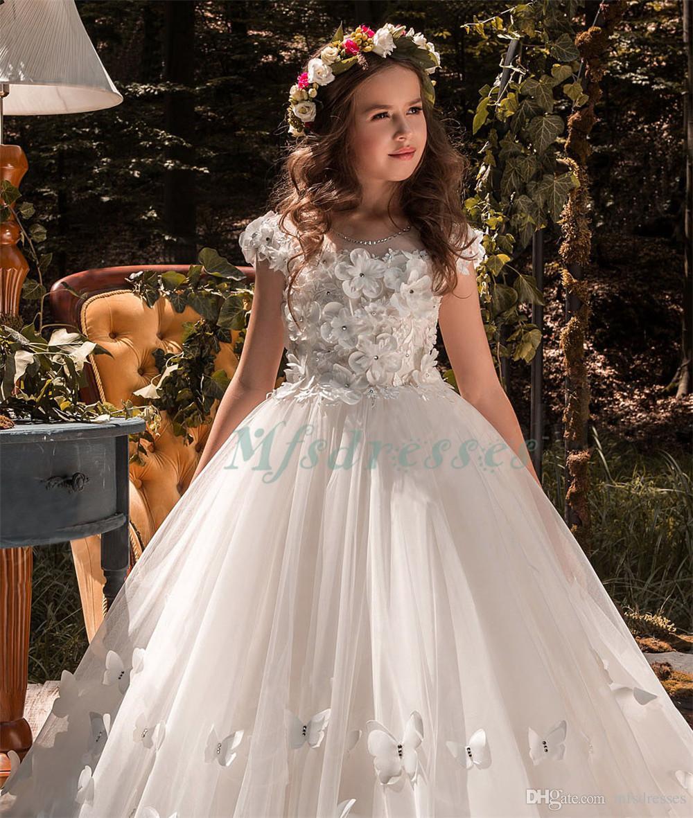 2017 Nouvelle Princesse blanche robes fille fleur filles Pageant Dress Bow robe de première communion pour les filles anniversaire Robes de bal d'enfants Robes de soirée
