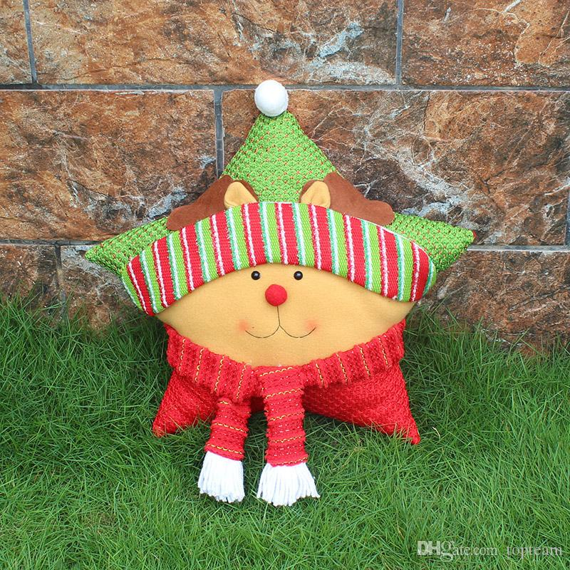 Christmas Pillow Five-pointed Star for Festivel Sofa Pillows Merry Christmas Reindeer Snowfla Cartoon Animals Pillow Gift