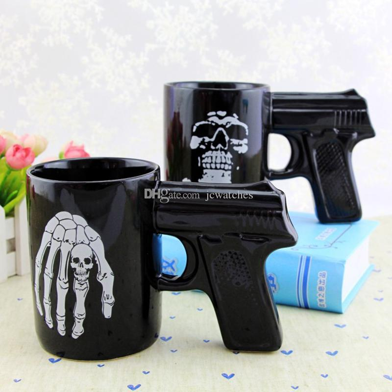 skull design black color mug tea coffee travel mugs with handle party joke fun gifts beverage cups small travel mugs solid red coffee mugs from jcwatches - Coffee Travel Mugs