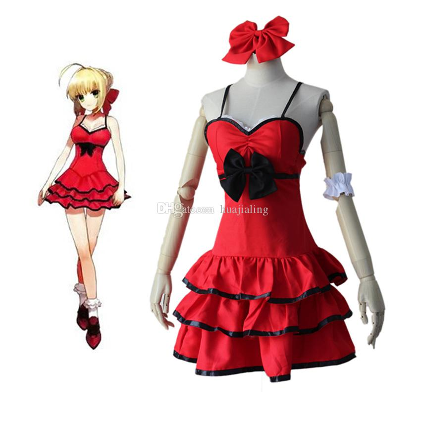 Anime Ball Gown White With Red Roses: Fate/Stay Night Anime Fate Zero Saber Cosplay Arturia