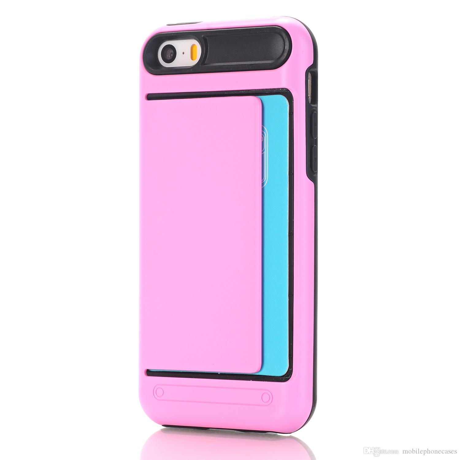 Phone Case Accessories For iphone 5 5s 5SE Soft TPU+PC cardslot back cover for iphone5 5s 5SE cases 2017 hot sale 11kinds color