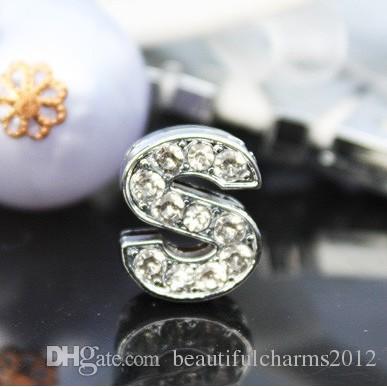 50 pçs / lote 10mm S Strass Completo Bling Letras de Slide DIY Liga Encantos Fit Para 10 MM pulseira pulseira 0033