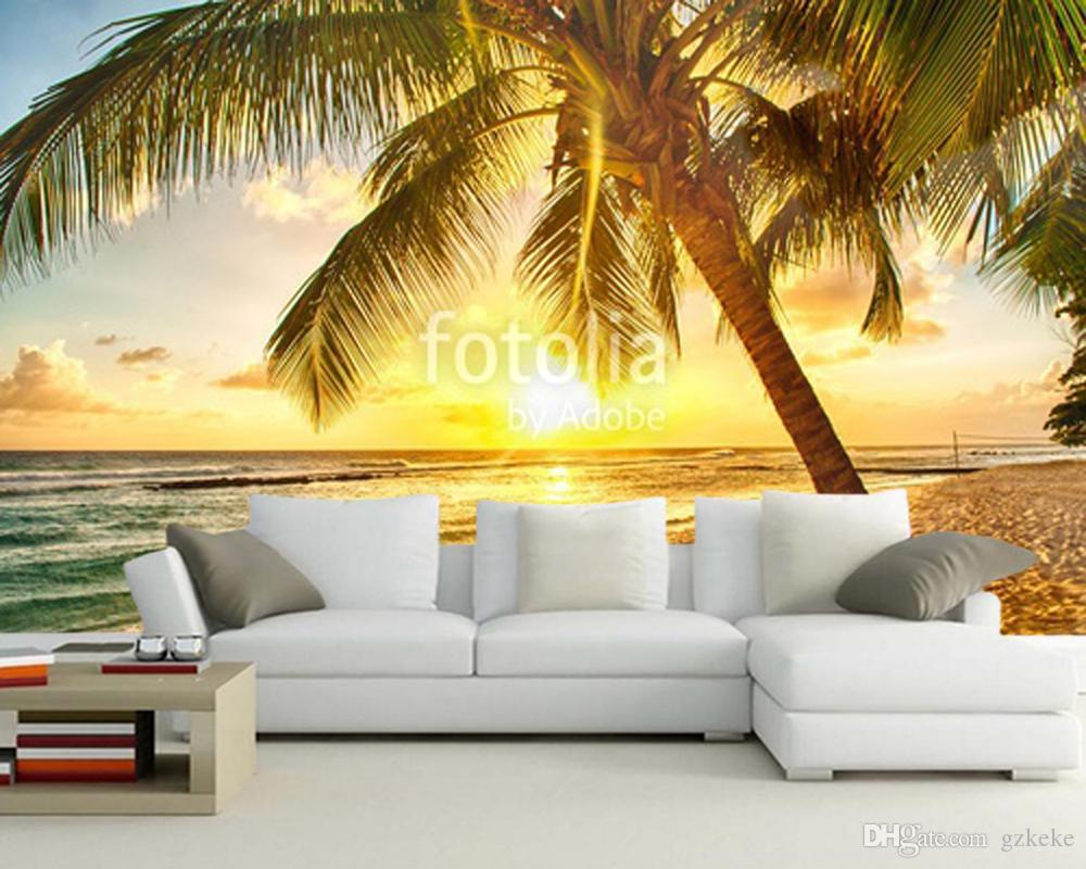 Custom Home Decoration Wallpaper, Tree Beach Mural Used In Living ...