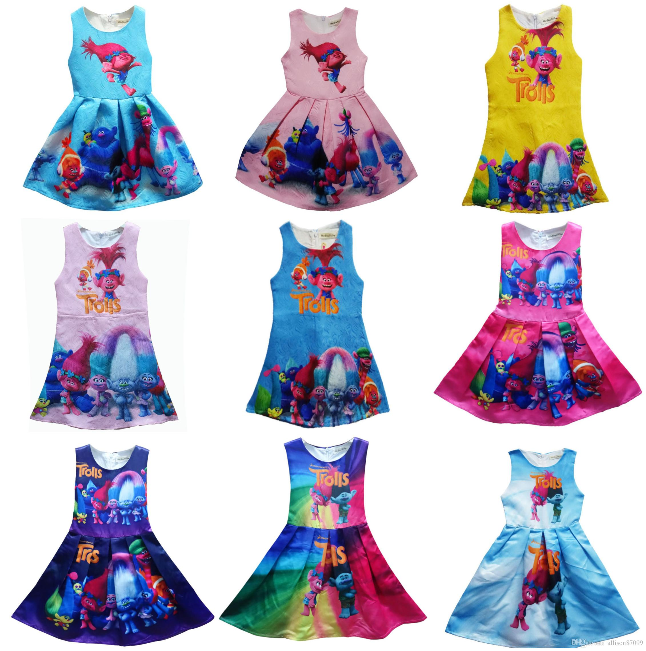 Wholesale Girls Trolls Dresses Girls Clothing Princess Dress For ...