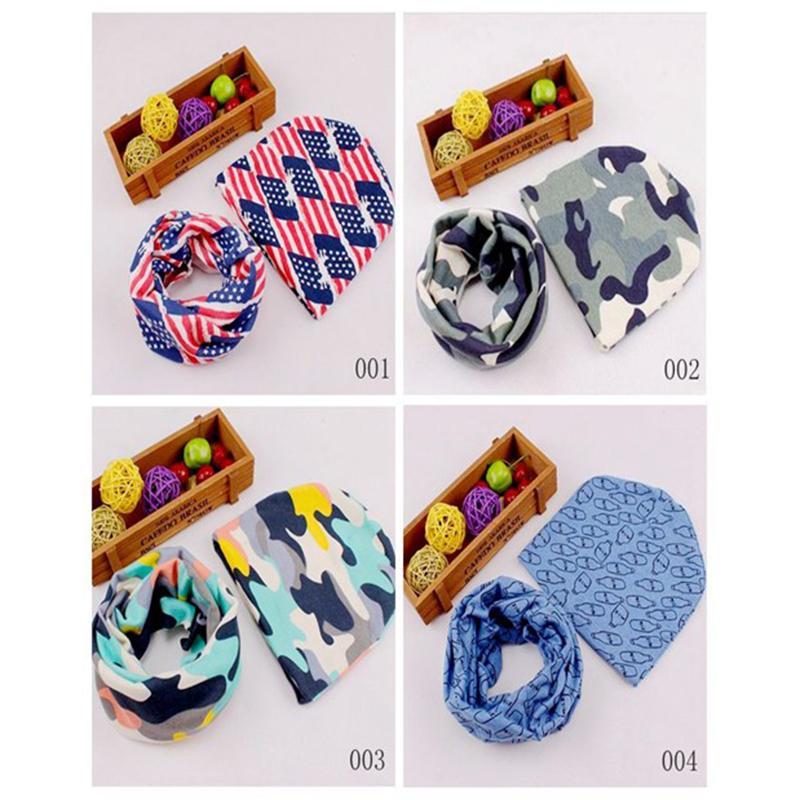 Детские шапочки шарф набор младенческой хлопок Skullies красивый стиль печати шаблон новинка шляпа шарф набор для детей