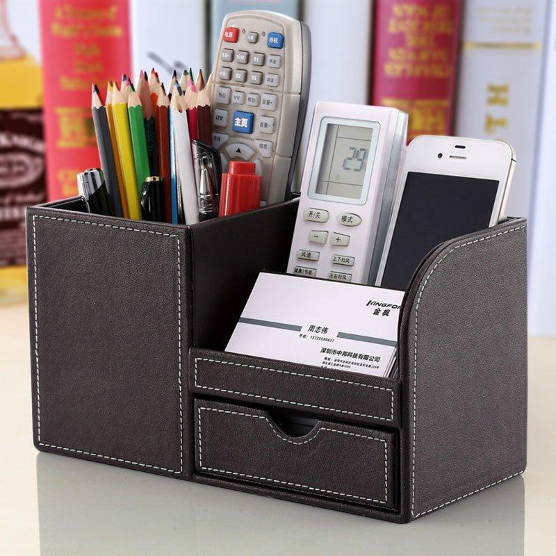 2018 Hot Office Desktop Pen Holder With Drawer Stationery Supplies Pu Leather Multi Function Container Card From Fengqiaoxueying2017
