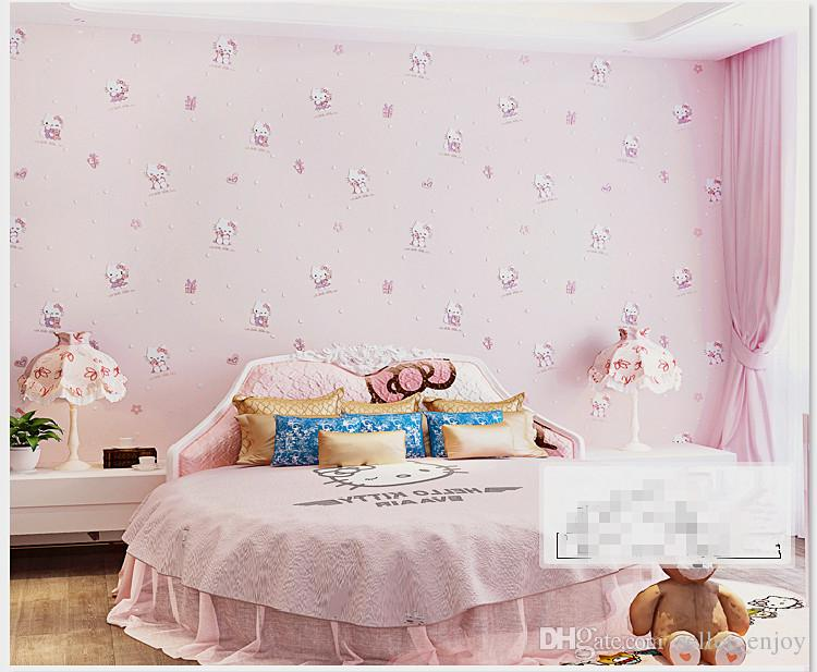 Hello kitty style cartoon wallpaper non woven eco friendly tactic child romantic baby room wall paper for girls children free pc wallpapers free phone