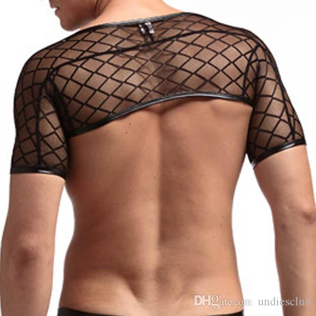 Black Mesh Fishnet Men Sexy Fitness Crop Tank Tops Gay Funny Half Vest  Clothing Summer Style Transparent See Through Stage UK 2019 From  Undiesclub 4f7a1e05782e