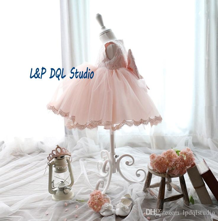 Tea-Length Pink Flower Girl's Dresses Cheap Tulle Lace Real Pictures Flower Girls Dresses Real Pictures New Arrival