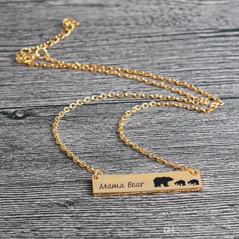 Banhado A ouro Banhado A Ouro Colar Polar Mama Urso Colar Presentes para a Mãe Da Mãe do Dia Presente de Aniversário Remembrance frete grátis