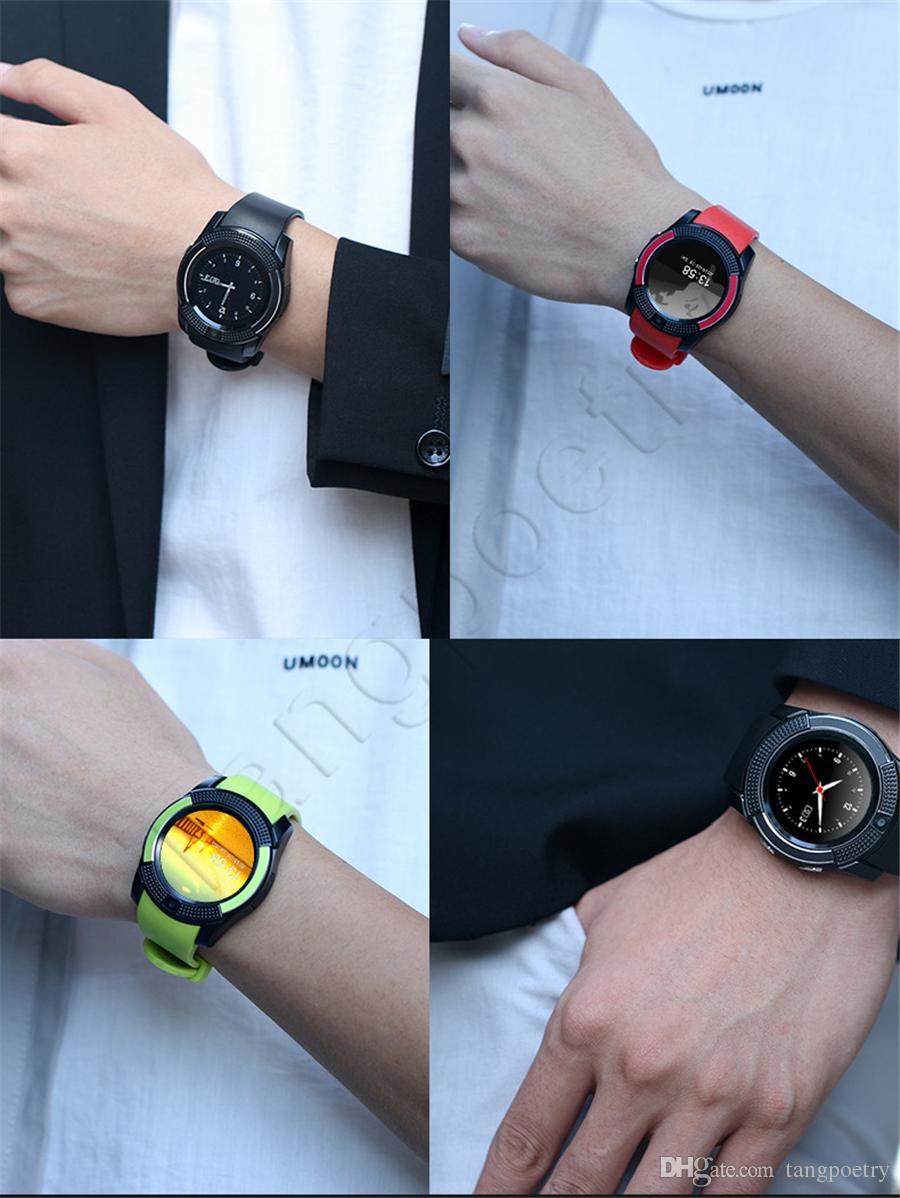 V8 Smart Watch Bluetooth orologi Android con fotocamera 0.3M MTK6261D Smartwatch telefono Android Micro SIM Carta di TF con pacchetto di vendita al dettaglio