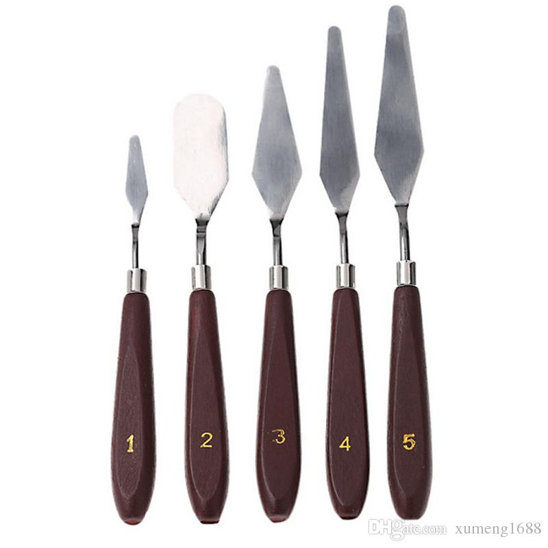 5pcs/set Stainless Steel Artist Painting Palette Knife Spatula Oil Painting Knives Paint Artist Crafts Painting Kit Scraper