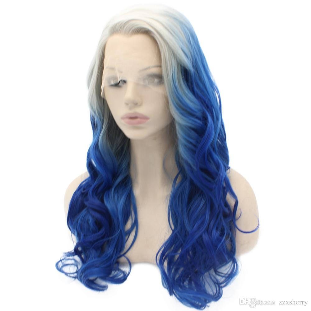Long Wavy Gray Blue Ombre Lace Front Cosplay Party Wig