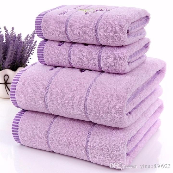 고품질의 럭셔리 100 % 라벤더 코튼 원단 보라색 흰색 수건 세트 성인용 목욕 타월 / 어린이 페이스 타올 욕실 3 개