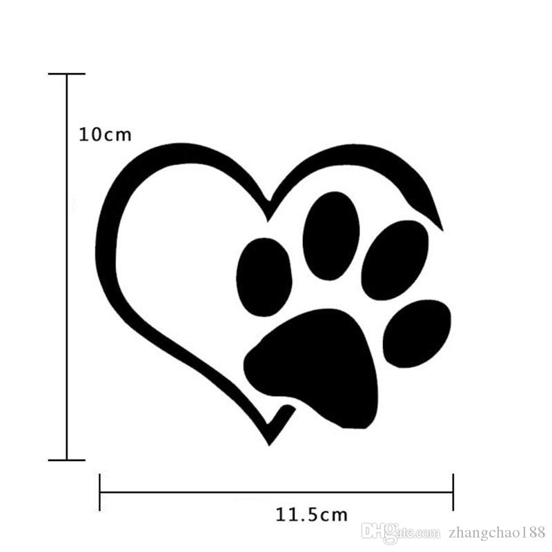 Brand New Car Paster 11.5cm*10cm Heart Form Cat Paw Decal Heart Form Dog Footprints Stickers Heart Shape Bear Paw Paster