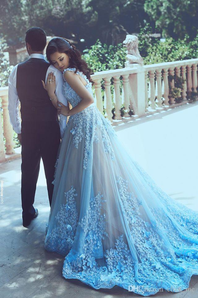 Ice Blue Princess Prom Dresses With Long Train Appliques Sash Tulle Special Occasion Dresses Evening Wear Said Mhamad Bridal Gowns Vestidos