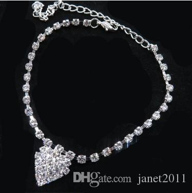 Gorgeous Rhinestone Ankle Bracelets Silver Tone Crystal Heart Pendant Anklets Gothic Foot Chains Barefoot Beach Sandals For Womens