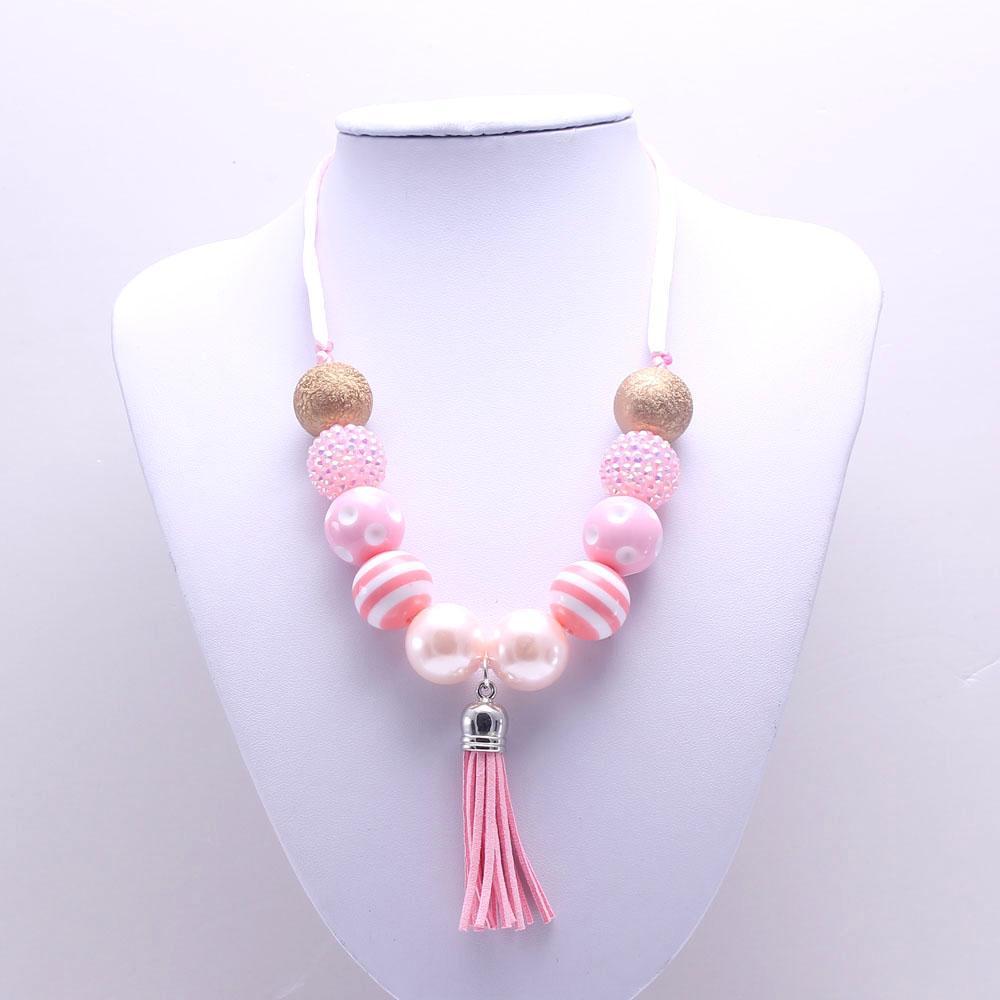 MSH.SUN 2 unids Niños Hecho a mano DIY collar Dulce Rosa + Collar de perlas de color dorado Chunky chicle Collar ajustable Cuerda Nueva BN161