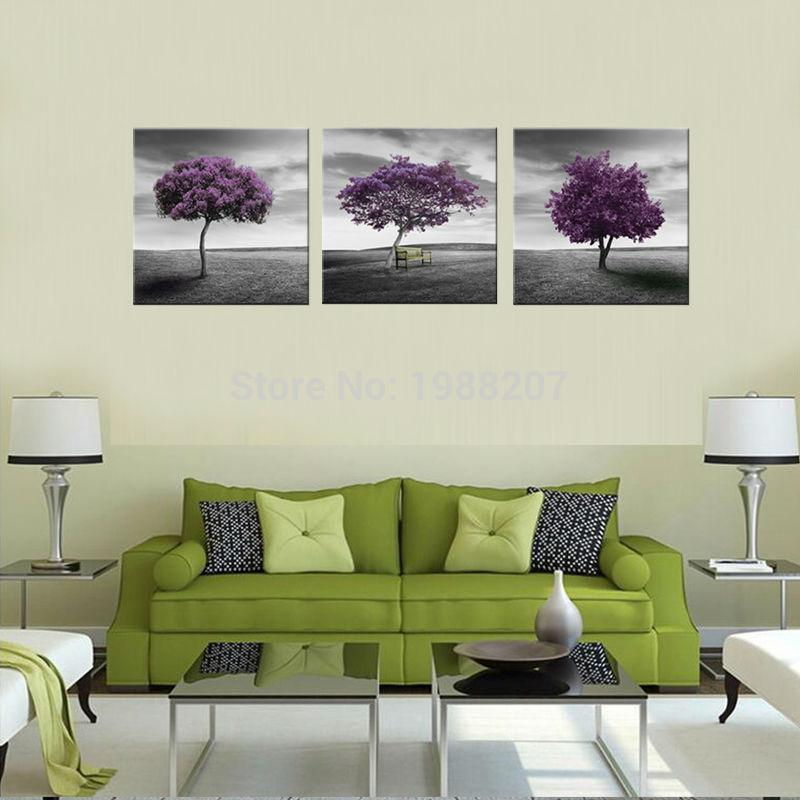 2018 3 Panels Canvas Prints Purple Wall Art Painting Prairie Purple ...