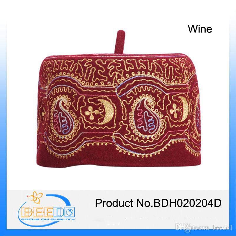 Wine Color 100 Wool Felt Embroidery Muslim Oman Hatkufi Custom
