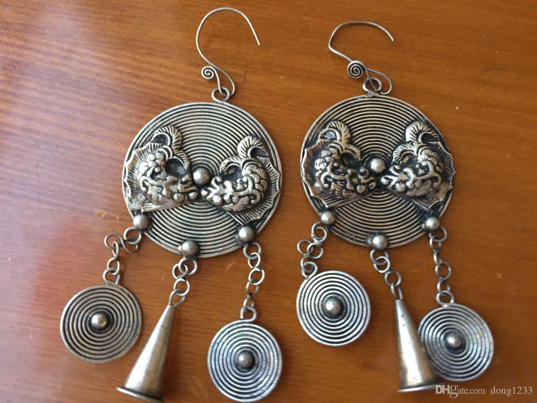 Großhandel Neue Ethnische Miao Tibet Silber Kreisförmige Ohrringe