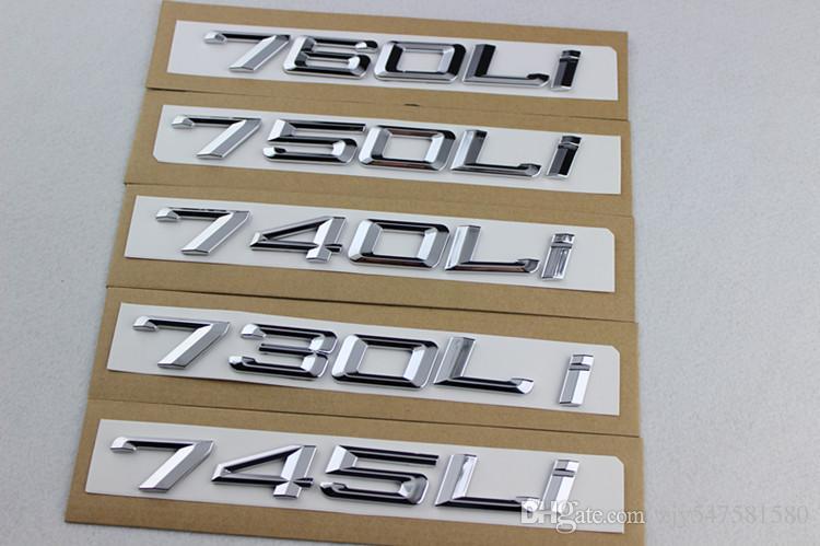 Voiture style nouveau ABS noir / argent 745 730 740 750 760 LI voiture radoub déplacement emblems.car queue décor autocollant pour BMW 7 série